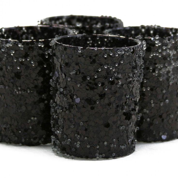 Glitter Votive Candle Holders - Black [Black Glitter Votive Holders] : Wholesale Wedding Supplies, Discount Wedding Favors, Party Favors, and Bulk Event Supplies