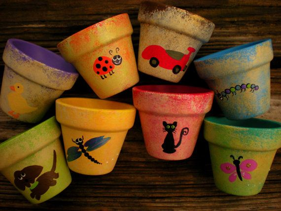 Hey I Found This Really Awesome Etsy Listing At Https Www Etsy Com Listing 157734167 Small Flower Pots Ha Small Flower Pots Painted Flower Pots Painted Pots