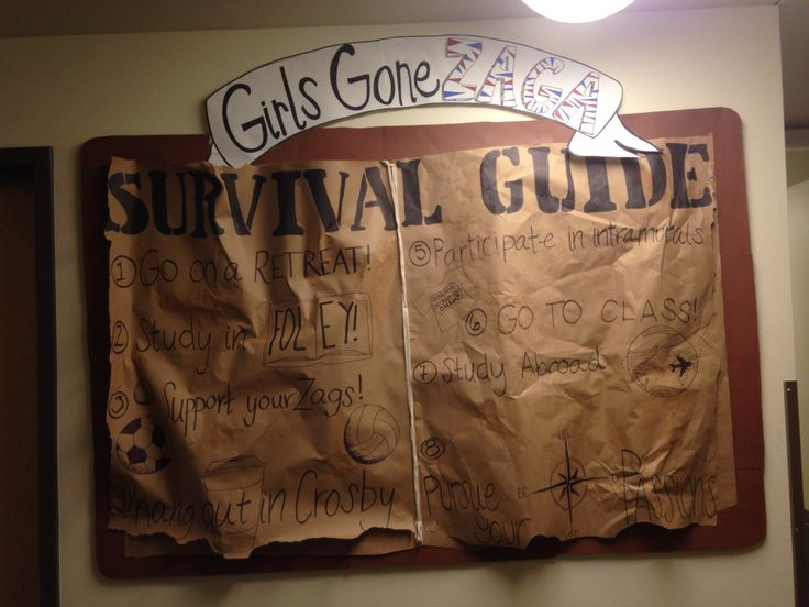 Res life. Bulletin board. Survival guide.