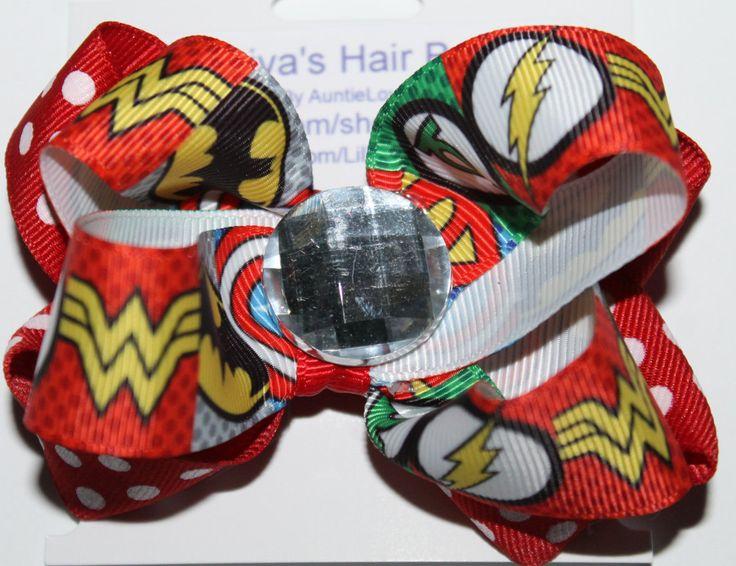 Superhero Hair Bow, Superhero, Superman Hair Bow, Batman Hair Bow, Iron Man Hair Bow, Green Lanter Hair Bow, Wonder Woman Hair Bow, by AuntieLove on Etsy