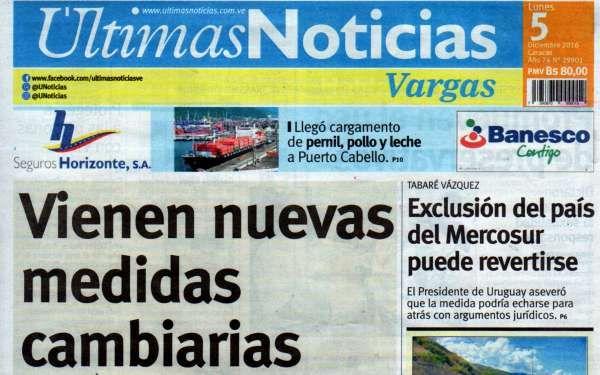 Últimas Noticias Vargas lunes 5  diciembre  de  2016
