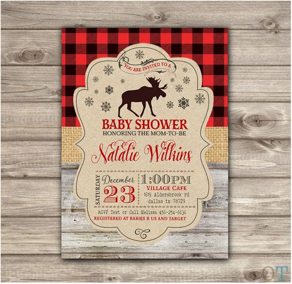 Boy Baby Shower Invitations Winter Bear A baby Moose Rustic Woodland Flannel Template Winter Buffalo Plaid Lumber jack Snowflakes NV2076