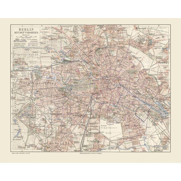 Old City Print of Berlin, 1900s.  #map, #antiquemap, #vintagemap, #oldmap #historicalmap, #mapreproduction #mapreproductions #oldmaps, #vintagemaps, #antiquemaps, #historicalmaps #handmadepaper #maps, #berlin, #mapdecor, #traveldecor #walldecor, #mapgifts