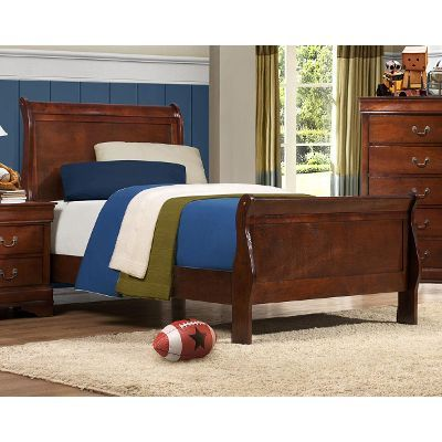 Brown Cherry Traditional Twin Sleigh Bed - Mayville $265