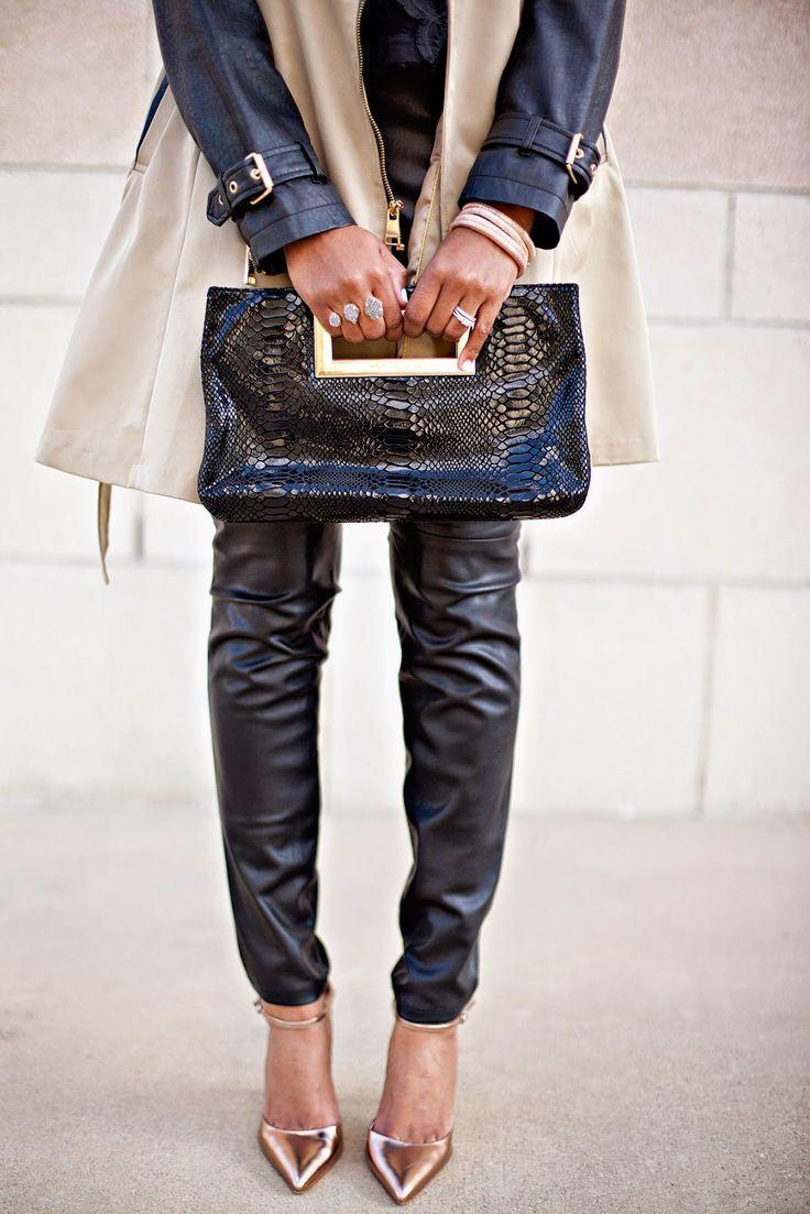 Leather Statement Clutch - Faded Floral Jeans by VIDA VIDA 91s8okBk2B