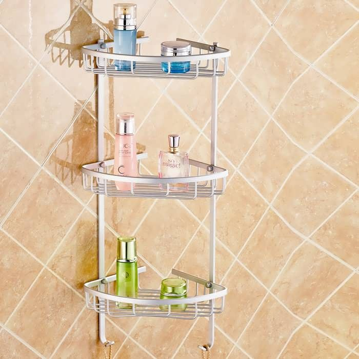 Description: Aluminium Wall Mounted Bathroom Corner Shower Caddies Storage Shelf Rack Holder This shower caddy is made of aluminum and it can storage all bathroom stuffs, such as shampoo, soap, toothbrush cup and ect. There are three type for selection. It can meets your daily requirment and it...