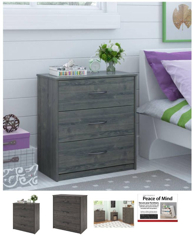 3 Drawer Dresser Nightstand Chest Bedroom Furniture Storage Wood Weathered Oak Mainstays Storage Furniture Bedroom Dresser As Nightstand Dresser Sets