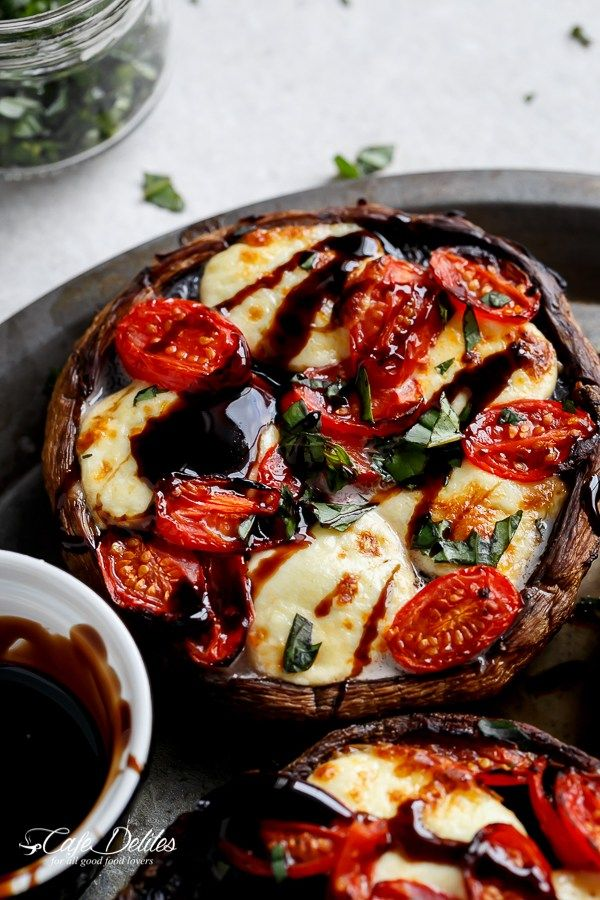Caprese Stuffed Garlic Butter Portobellos | http://cafedelites.com | for dairy free, use ghee instead of butter and Daiya vegan cheese instead of mozzarella