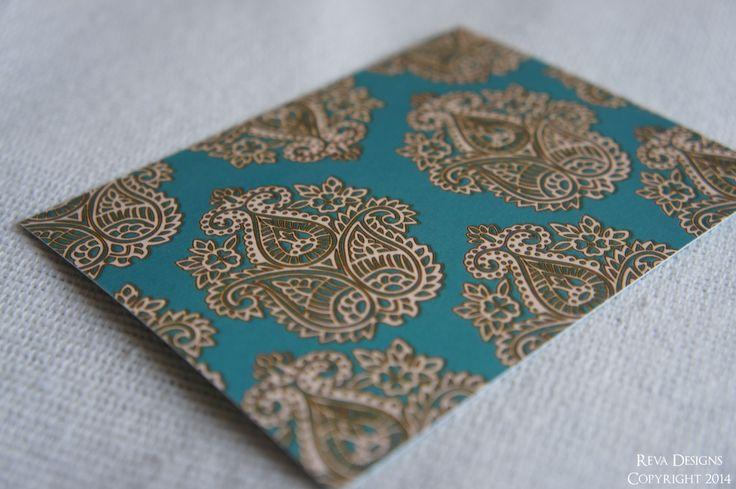 Teal Paisley RSVP card