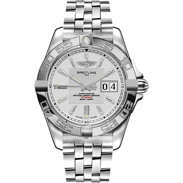 A49350L2/G699 Breitling Windrider Galactic 41 Mens Silver Watch ($2,975) ❤ liked on Polyvore featuring men's fashion, men's jewelry, men's watches, mens silver watches, breitling mens watches and mens watches jewelry