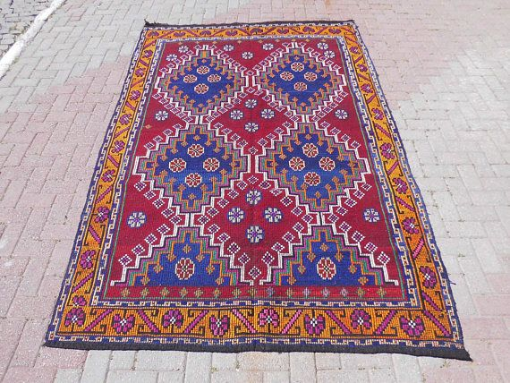 Turkish Goat Hair Wool Kilim Rug Area Rug 8x10 turkish rug