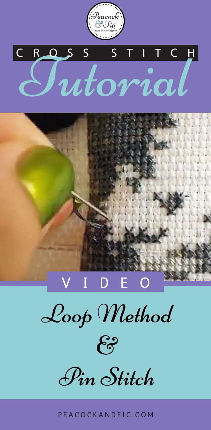 Cross stitch tutorial about how to start and end your threads with the loop method & pin stitch