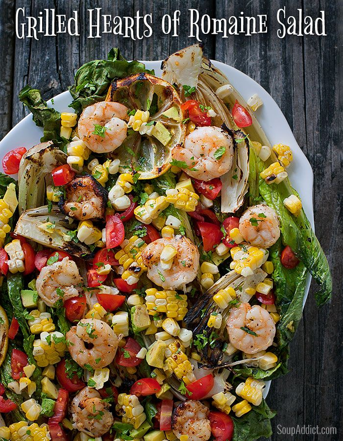 Grilled Romaine Salad with Shrimp and Fresh, Summery Veggies.