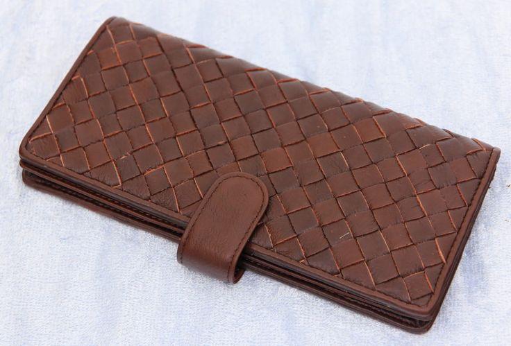 Кошелек Bottega Veneta кожаный коричневый плетеный #212