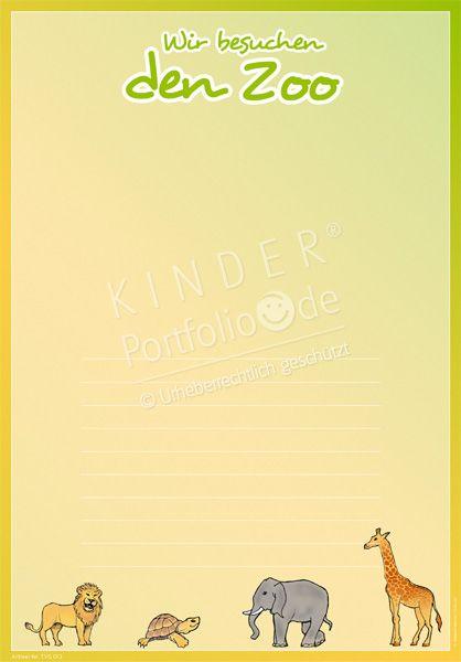 """Kindergarten Portfolio Vorlagen """"Wir besuchen den Zoo"""""""