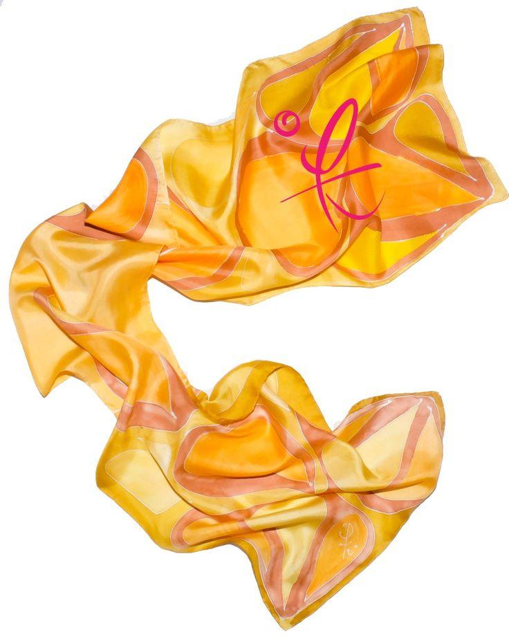 www.laurelena.com #Silk #Scarf hand painted by #Laurelena #Seda #Pañoleta pintada a mano por #Laurelena #for_man #para_hombre #yellow #amarillo #monarch #monarca designed for that #man #modern, #active, #masculine, #atractive, #deportist  that is very secure of him self #yellow #amarillo