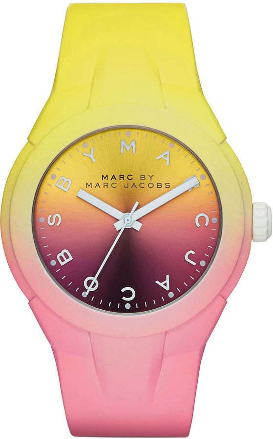 MARC by Marc Jacobs 38mm X-Up Ombre Watch, Yellow/Pink