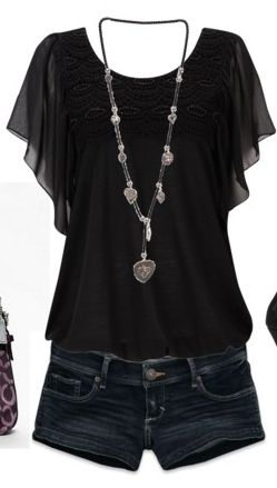 Cute top. Very pretty style in black. Would not wear quite such short shorts with it though at my age! Love this look.