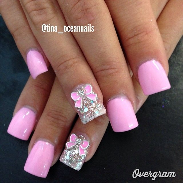 Bow pink sparkle nails   fashionsheriffjennbee.blogspot.com <<<check out my fashion blog<<< and follow me on pinterest @jennbee22
