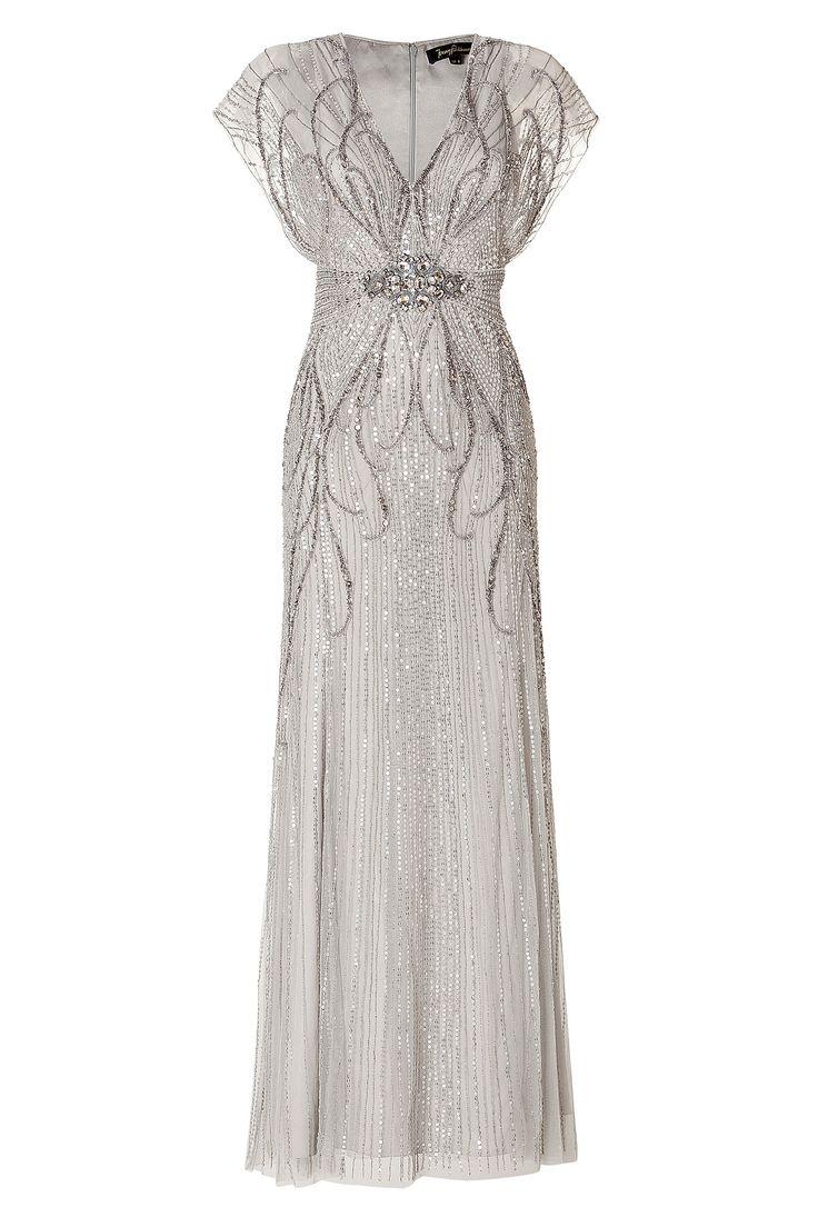 Sequin Embellished Platinum Gown / Jenny Packham.