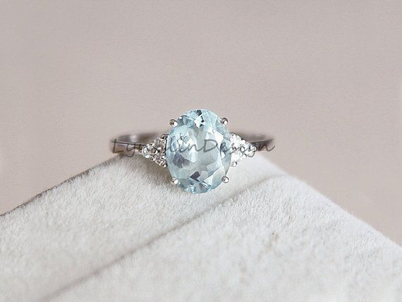 14k White Gold Aquamarine Engagement Ring 6x8mm by LynnLinDesign