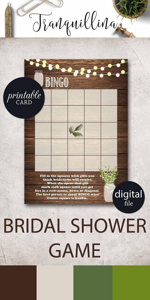free printable bridal shower games how well do you know the bride%0A Bridal Shower Bingo  Rustic bridal shower game  Printable bingo game   rustic  bridalshower