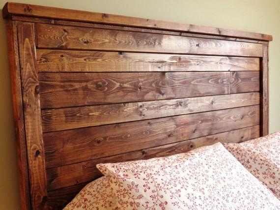 Rustic distressed wood queen headboard made by for Diy queen wood headboard