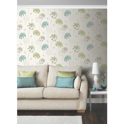 Kitty Motif Wallpaper Teal Green At Homebase Be Inspired And Make Your House A Plum WallpaperGreen LoungeTeal GreenLounge IdeasLiving Room