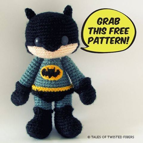 #freecrochetpattern #crochetBATMAN AMIGURUMI FREE PATTERN https://talesoftwistedfibers.wordpress.com/2014/05/25/amigurumi-batman/PIN IT https://www.pinterest.com/pin/159666749265427029/