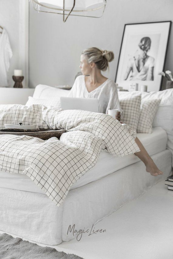 Linen bedding set in Charcoal Grid (Windowpane) pattern, King, Queen. Linen duvet cover set with 2 pillowcases