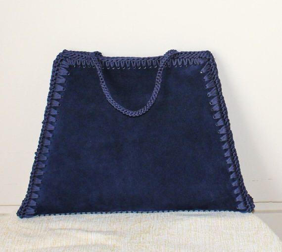 Bag minimalist women Blue suede bag Oversized bag Blue
