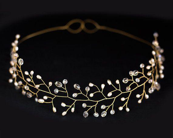 Diadema nuziale, nozze diadema, corona di sposa, diadema d'oro, copricapo, archetto, accessori per capelli da sposa, perle, fascia oro.