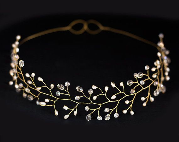 Bridal tiara, wedding tiara, wedding crown, Gold tiara, headpiece, headband, bridal hair accessories, pearls, Gold headband. via Etsy