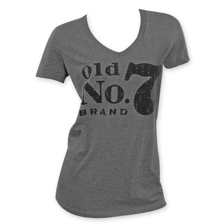 Jack Daniels No 7 Women's Grey V-Neck Tee Shirt