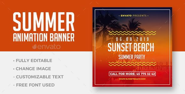 Summer Beach Animation Banner Is Great For Any Club Beach Event Summer Party Or Other Advertising Purposes Featuressize 1 Animated Banners Banner Banner Ads