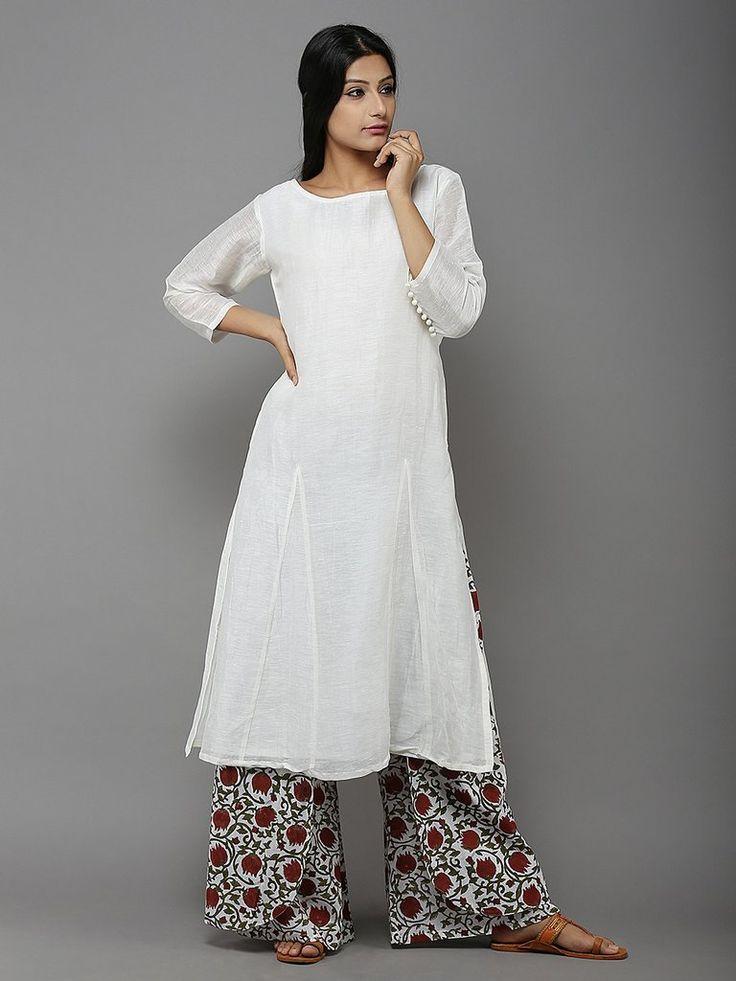 Off White Linen Kurta with Red Gobi Jaal Cotton Palazzo - 2 Piece Set