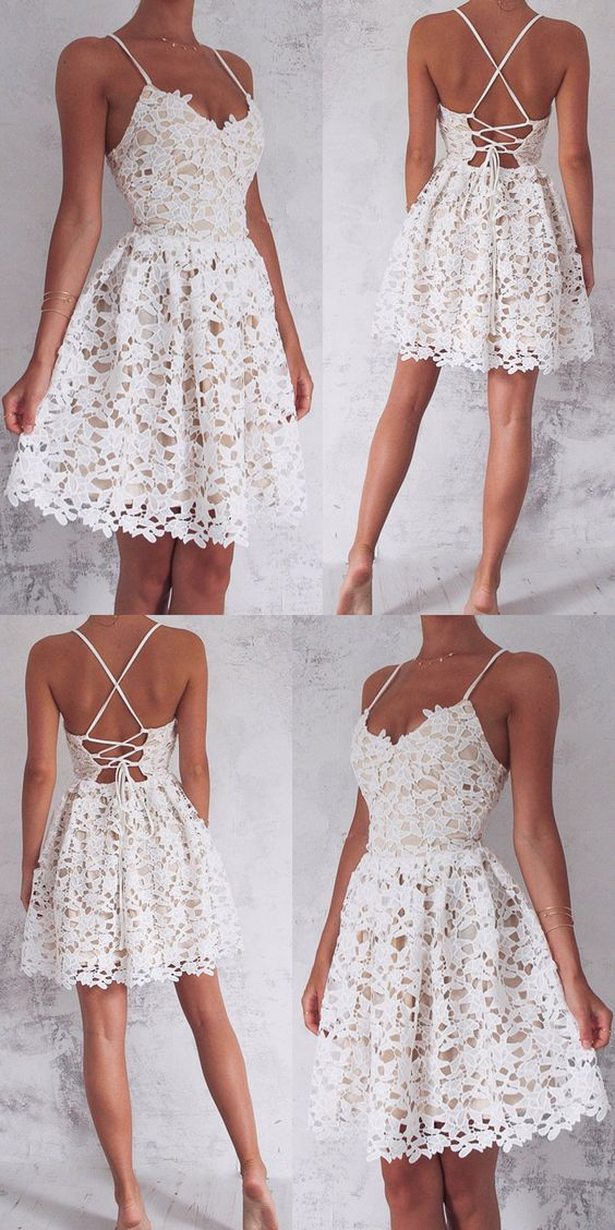 Spaghetti Straps Homecoming Dresses,White Lace Homecoming Dresses,Short Homecoming Dresses,Homecoming Dresses 2017