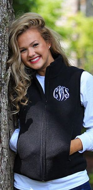 Monogrammed Black Fleece Vest - Perfect transitional piece for fall! #marleylilly
