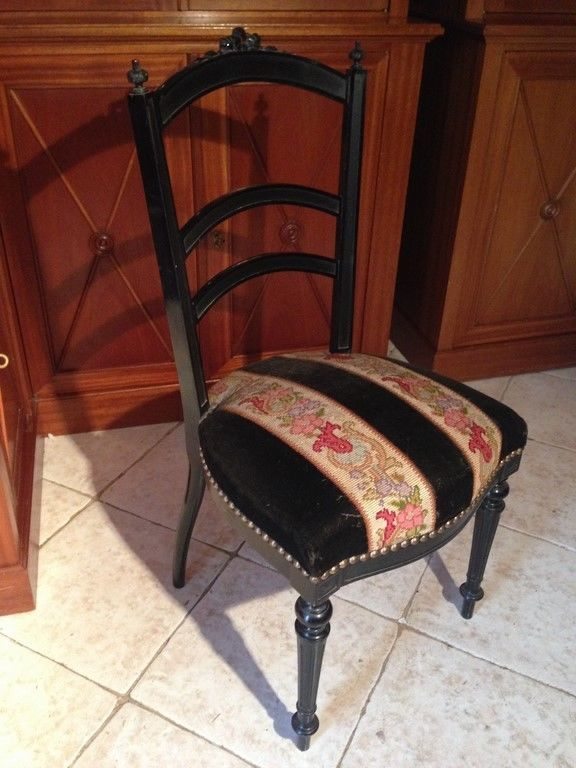 Tr s belle chaise xixe de style louis xvi acajou laqu noir napol on iii second empire - Chaise style louis xvi ...