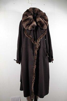 FENDI Italian Gorgeous Brown CASHMERE & CHINCHILLA FUR COAT w/ BELT