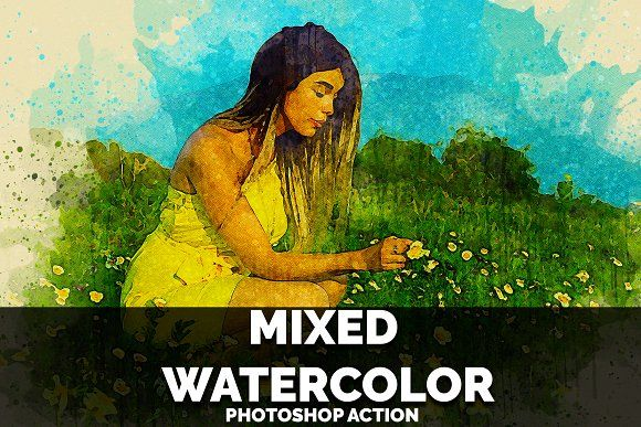 Mixed Watercolor Photoshop Action By Colors Warrior On