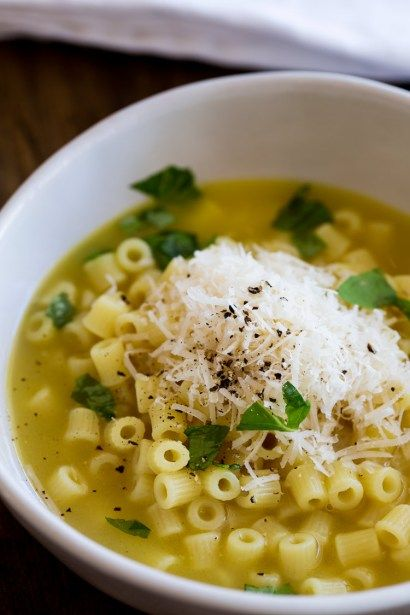 This Pasta with Chicken Broth, Butter and Parmesan is pure comfort food! One spoonful and you know the world is going to start looking brighter.