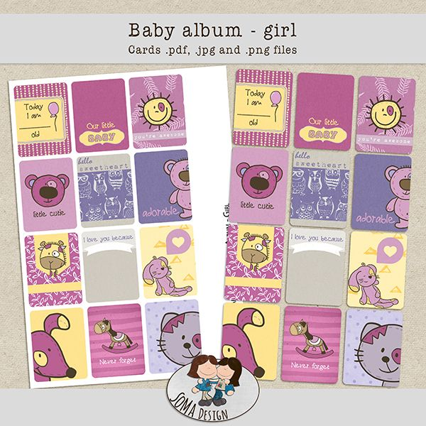 SoMa Design: Baby album - Girl - Cards