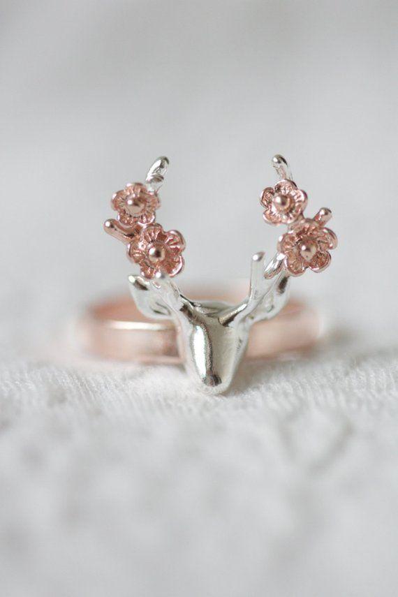 Blumen-Hirsch-Ring, rose gold Hirsch Ring, Geweih Ring, Blumenring, Tier Ring, rose gold Schmuck, Silber Ring, Geschenk für sie, brautjungferngeschenk