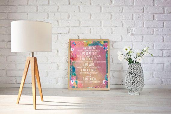 I am Strong Motivational Typography Poster Print Wall Art Decor Interior Indoor Inspirational Australian Made Artwork