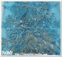50 * 135 cm cielo blu grande pavone garza tulle con paillettes tessuto del ricamo del fiore filato materiale tessile africano del merletto guipure cucire vestito