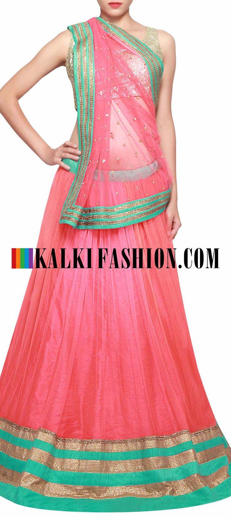 Get this beautiful lehenga here: http://www.kalkifashion.com/peach-lehenga-embellished-in-kardana-embroidery-only-on-kalki.html Free shipping worldwide.