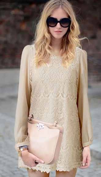 Temperament lace long-sleeved dress