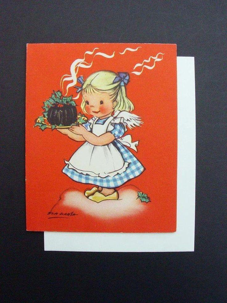 Vintage Eva Harta Crestwick  Xmas Greeting Card Angel Serving Cake on a Cloud