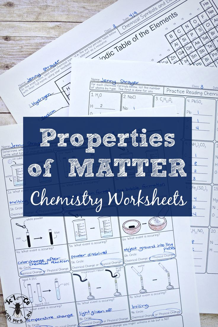 A whole unit of properties of matter chemistry worksheets, designed in  Illustrator and full of